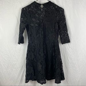 Black Laced Mid Sleeve A-Line Dress Size S